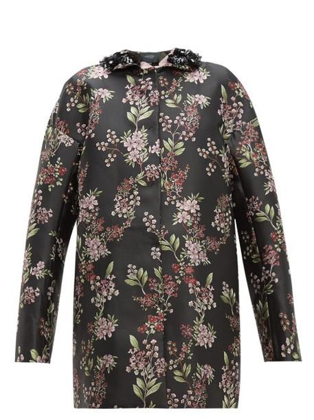 Giambattista Valli - Beaded Single Breasted Floral Jacquard Coat - Womens - Black Multi