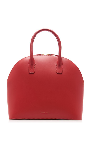 Mansur Gavriel Rounded Leather Top Handle Bag in red