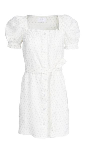 Sleeper Brigitte Mini Dress in pink / white