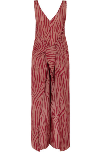 Diane von Furstenberg - Acella Tie-front Tiger-print Cotton And Silk-blend Voile Jumpsuit - Claret