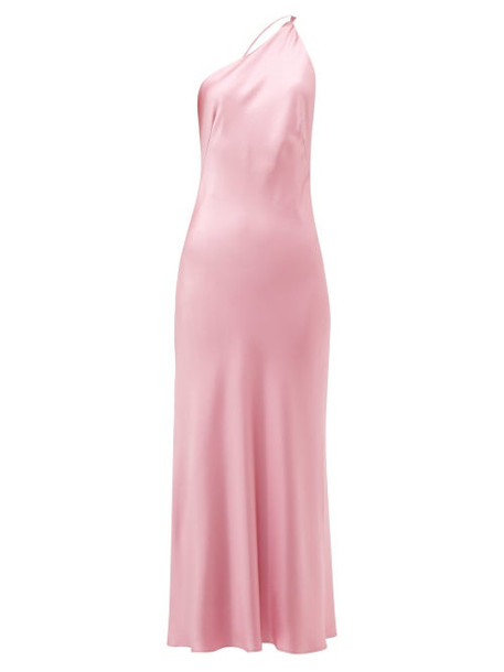 Galvan - Roxy One Shoulder Silk Satin Dress - Womens - Pink