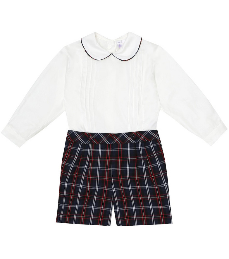 Rachel Riley Baby checked cotton playsuit in blue