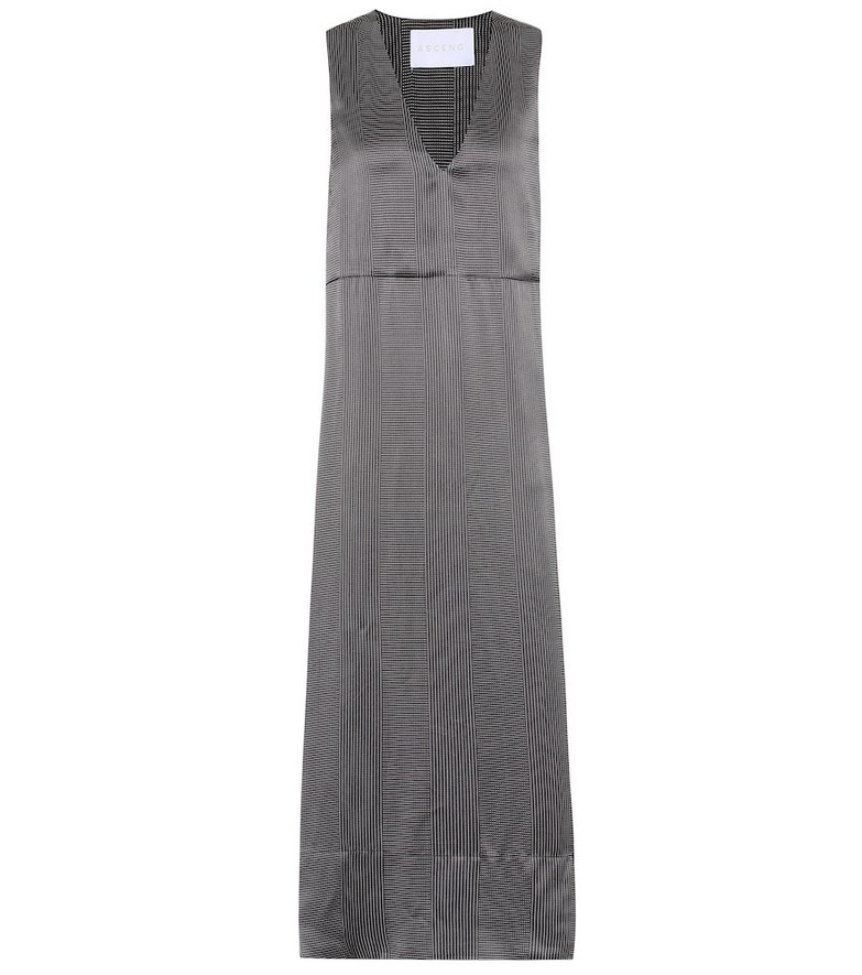 Asceno Dotted silk midi dress in black