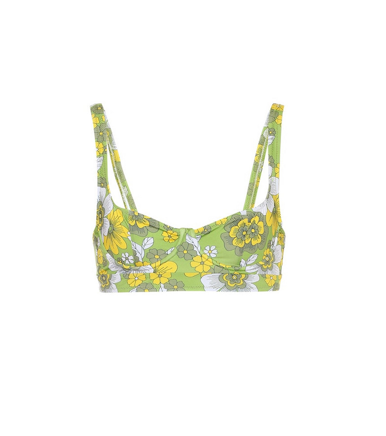 Dodo Bar Or Floral bikini top in green