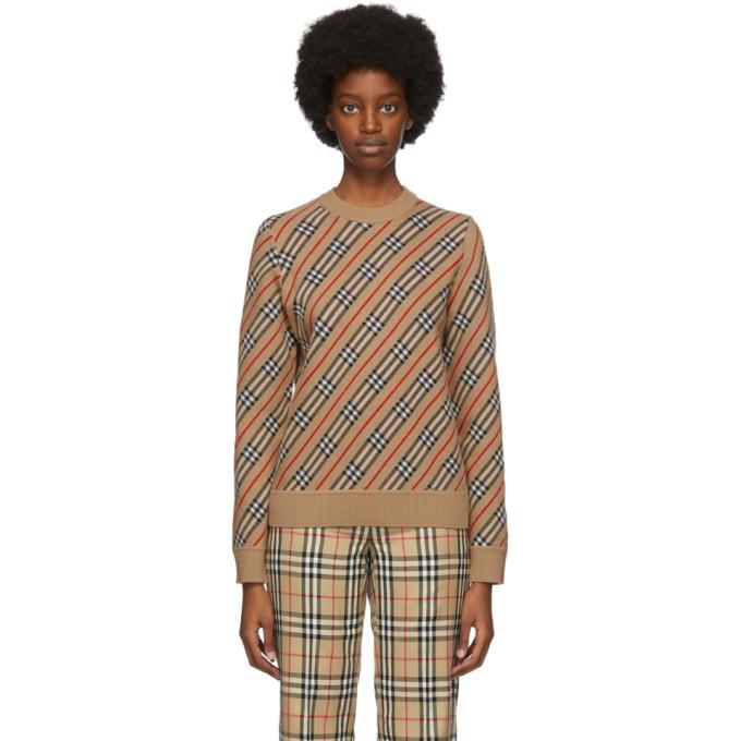 Burberry Beige Check Clara Sweater in camel