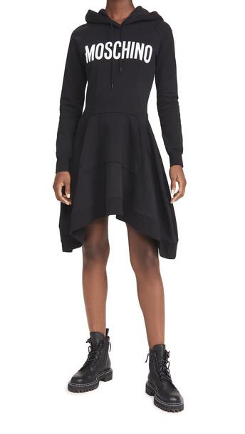 Moschino Hoodie Dress in black / print