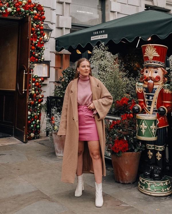 skirt mini skirt pink skirt ankle boots white boots long coat turtleneck sweater zara h&m