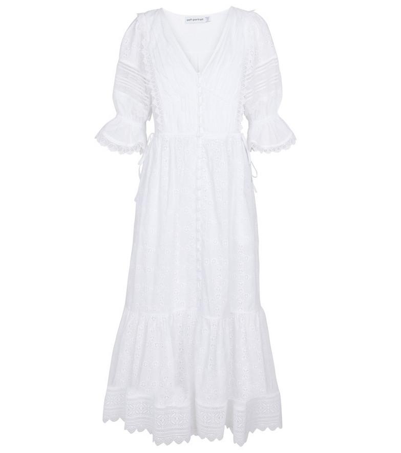 Self-Portrait Broderie Anglaise cotton midi dress in white