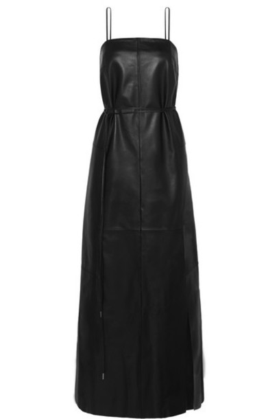 Salvatore Ferragamo - Belted Leather Maxi Dress - Black