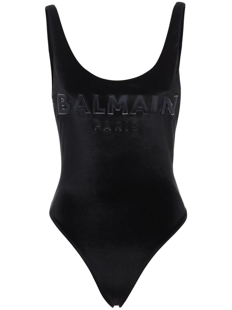 BALMAIN Logo One Piece Swimsuit in black