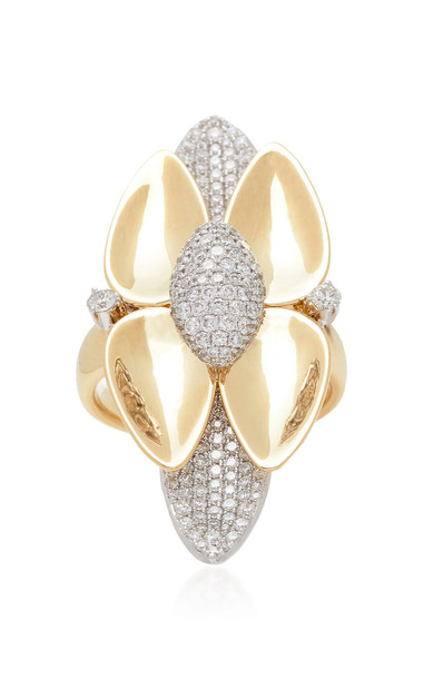 Sutra Kashmir Double Petal Ring in gold