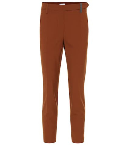 Brunello Cucinelli Stretch wool-blend cropped pants in brown