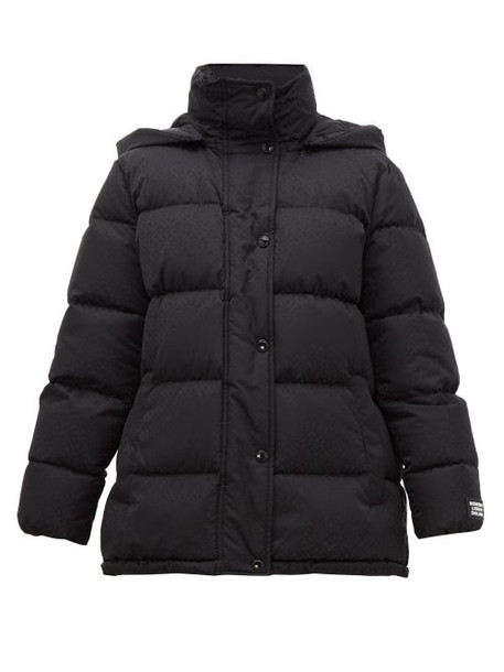 Burberry - Logo-jacquard Quilted Hooded Jacket - Womens - Black