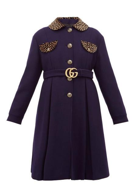 Gucci - Leopard Print Trim Single Breasted Wool Coat - Womens - Blue Multi