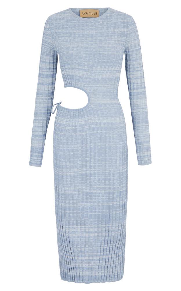 Aya Muse Shale Cutout Ribbed-Knit Midi Dress