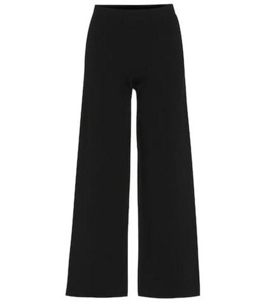 S Max Mara Ariccia cropped flared jersey pants in black