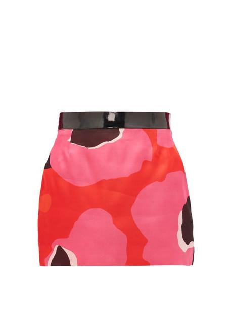 Elzinga - Pvc-waist Silk-organza Skirt - Womens - Pink