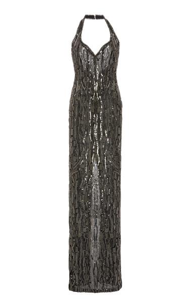 Pamella Roland Metallic Pearl Halter Gown in black