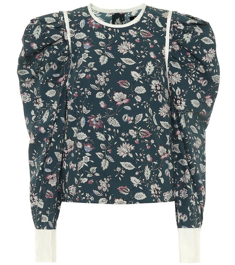 Isabel Marant Celwood cotton poplin blouse in green
