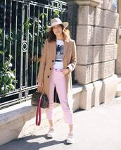 jeans,cropped jeans,sneakers,louis vuitton bag,camel coat,hat,white t-shirt
