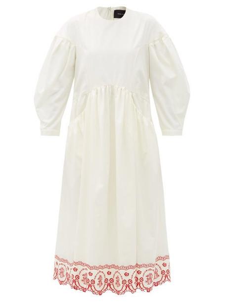 Simone Rocha - Floral-embroidered Cotton-poplin Dress - Womens - Cream