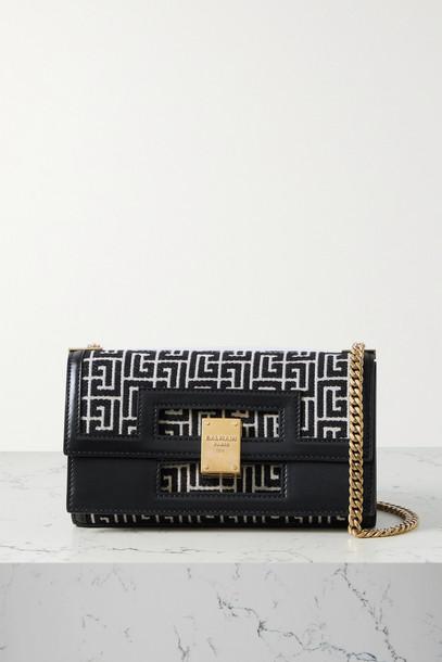 BALMAIN - 1945 Leather-trimmed Jacquard Shoulder Bag - Black