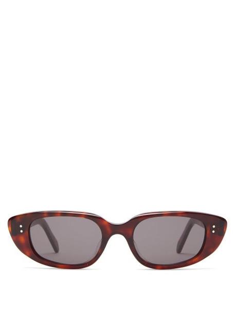 Celine Eyewear - Oval Acetate Sunglasses - Womens - Tortoiseshell