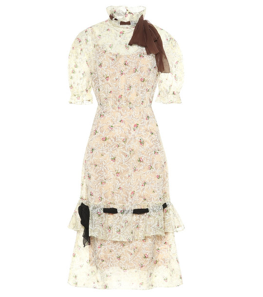 Miu Miu Floral organza midi dress in white