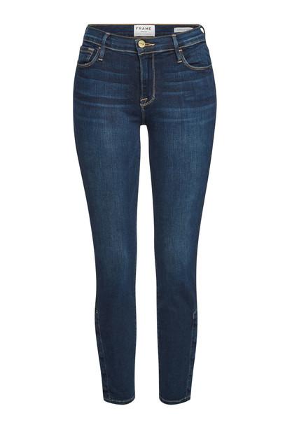 Frame Denim Le Skinny De Jeanne Snap Away Jeans  in blue