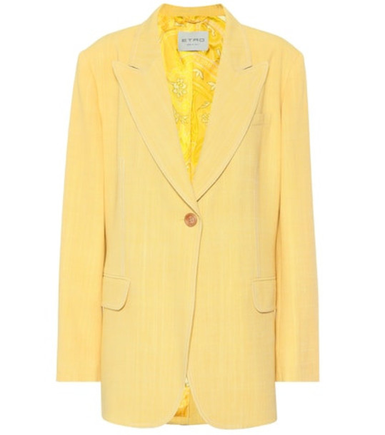 Etro Single-breasted blazer in yellow