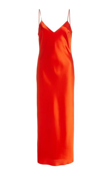 UNTTLD Chloe Satin Midi Slip Dress in orange