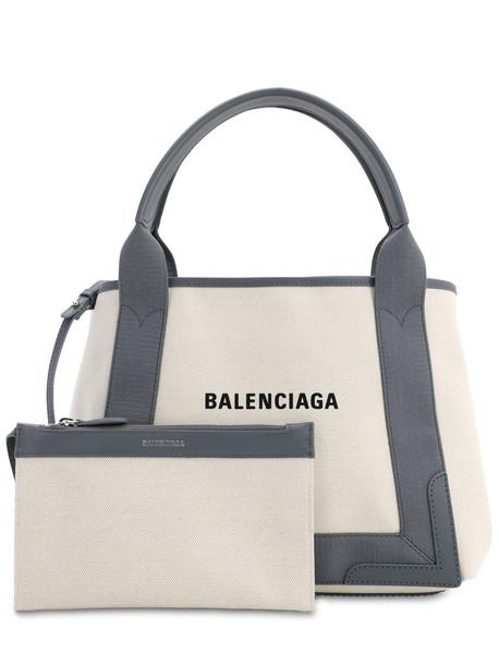 BALENCIAGA Sm Navy Cabas Cotton Canvas Bag in natural / grey