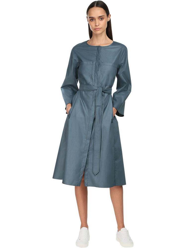 MAX MARA 'S Cotton Poplin Midi Dress W/ Belt in blue