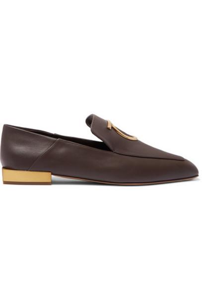 Salvatore Ferragamo - Lana Embellished Leather Collapsible-heel Loafers - Dark brown