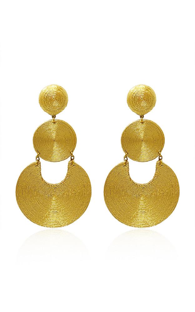 Rebecca de Ravenel La Tropezienne Silk-Cord Clip Earrings in gold