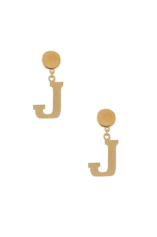 Vanessa Mooney The Illusion J Initial Earrings in gold / metallic