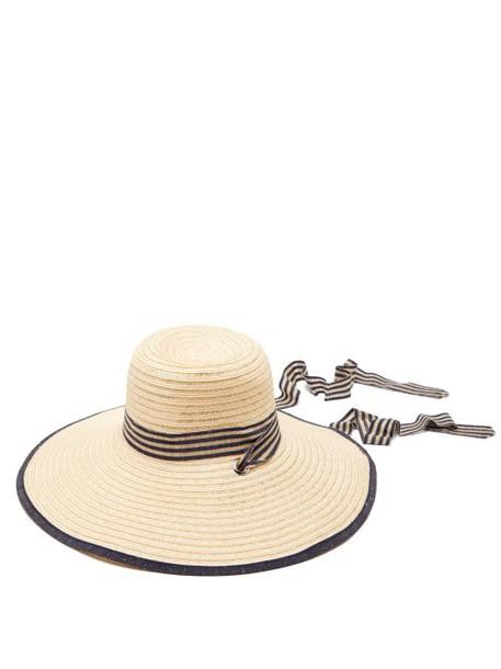 Filù Hats - Arenal Wide Brimmed Straw Hat - Womens - Dark Blue