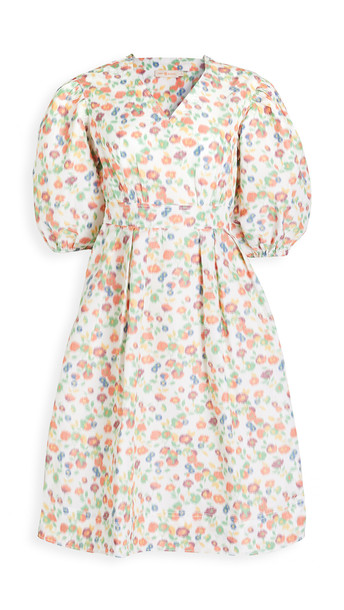 Tory Burch Tafetta Printed Sleeve Dress