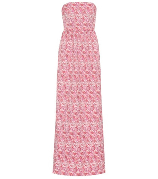 Rebecca Vallance Estelle floral strapless gown in pink