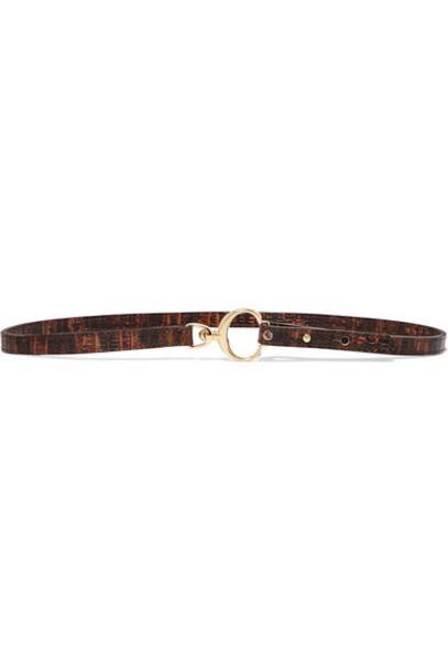 Chloé Chloé - Lizard-effect Leather Belt - Brown