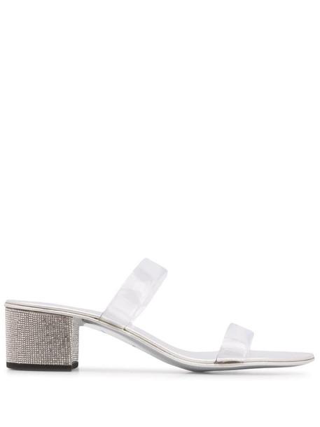 Giuseppe Zanotti crystal heel sandals in silver