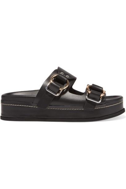3.1 Phillip Lim - Freida Leather Platform Sandals - Black