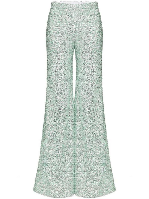 Halpern sequinned flared trousers in green