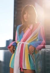 dress,colorful,stripes,striped dress,blogger,rocky barnes,wrap dress,mini dress