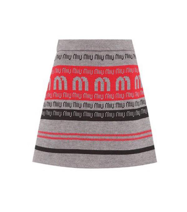Miu Miu Logo wool-blend knitted skirt in grey