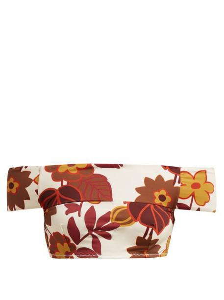 Dodo Bar Or - Ceccile Off The Shoulder Floral Print Bikini Top - Womens - Cream Print