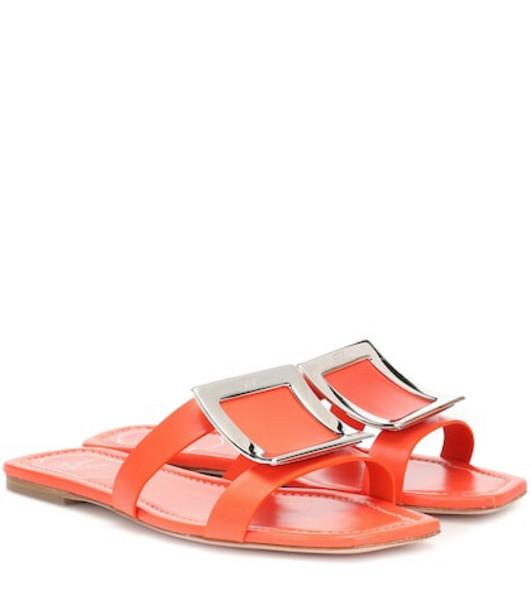 Roger Vivier Bikiviv' leather slides in orange