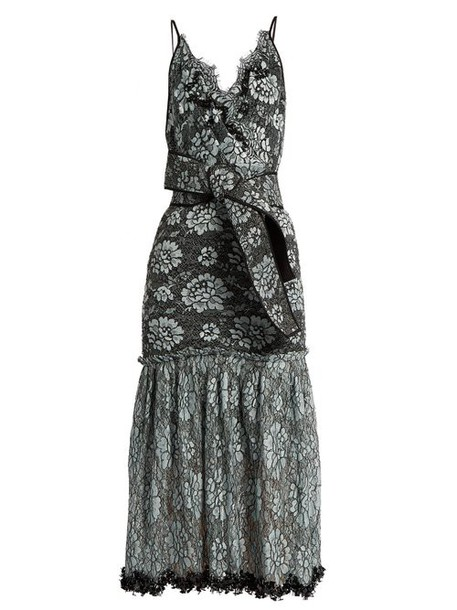 Johanna Ortiz - Bead Embellished Lace Cotton Blend Faille Dress - Womens - Black Multi