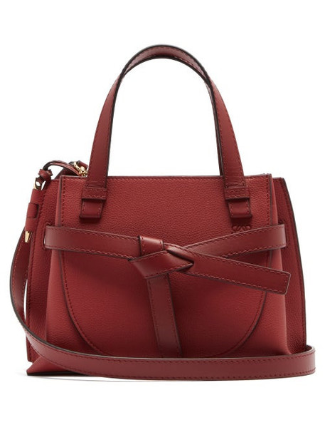 Loewe - Gate Woven-leather Tote Bag - Womens - Dark Red