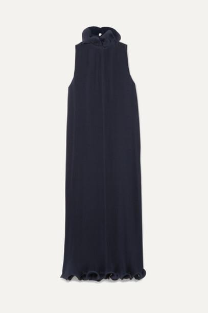 Tibi - Ruffled Plissé-satin Midi Dress - Midnight blue
